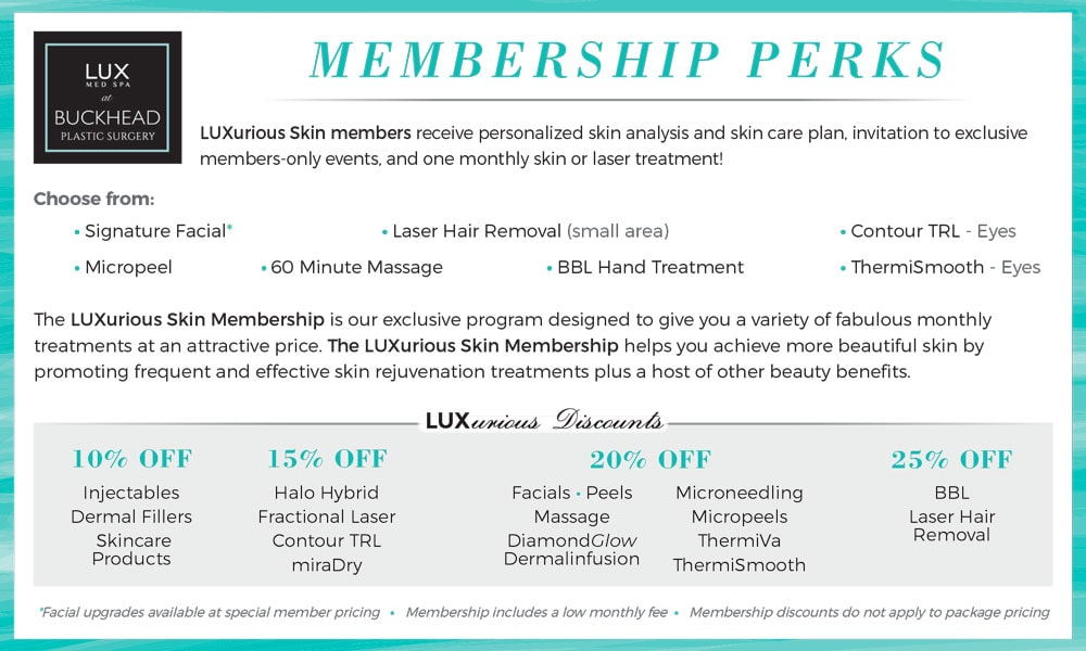 Become a member at LUX Med Spa at Buckhead Plastic Surgery